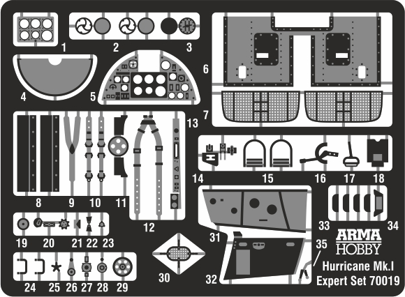 Hurricane I – photoetched parts and decals