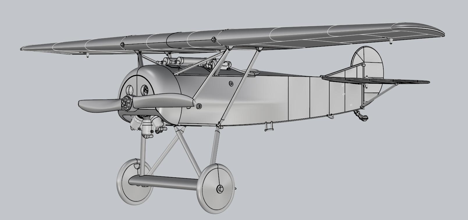 Fokker E.V Model kit Renders